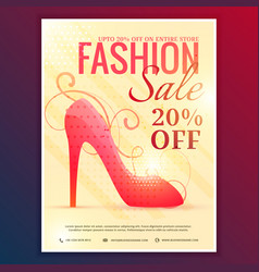fashion sale discount voucher with red sandal vector image
