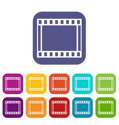 Film with frames movie icons set vector