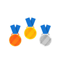 flat icon of gold silver and bronze medal vector image