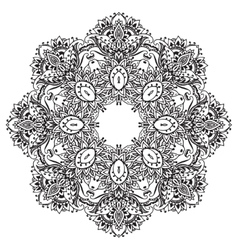 Flower mandala with hand drawn floral vector
