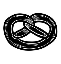 Fresh pretzel icon hand drawn style vector