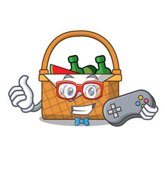 gamer picnic basket mascot cartoon vector image