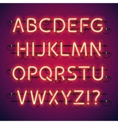 Glowing neon bar alphabet vector