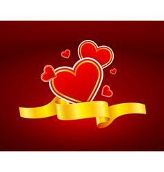 gold ribbon heart icon vector image
