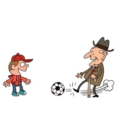 Grandfather and grandson playing football vector