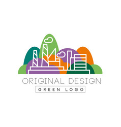 Green logo original design city park and factory vector