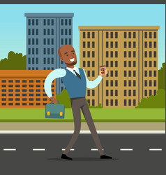 happy black man in formal clothing walking down vector image