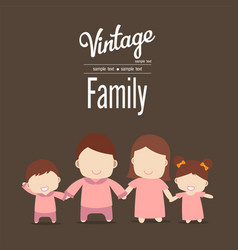 happy family icon vintage in simple figures two vector image