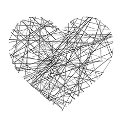 Heart made of black lines vector