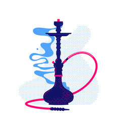 Hookah with smoke flat vector