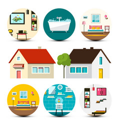 house icon family houses set with interior bubbles vector image