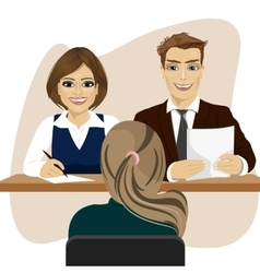 interview with woman candidate for recruitment job vector image