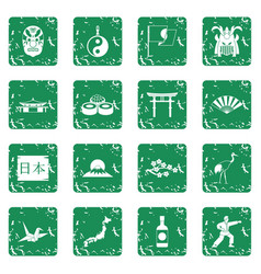 Japan icons set grunge vector