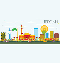 jeddah skyline with color buildings and blue sky vector image
