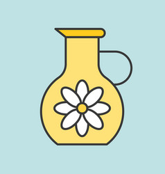 Jug of floral essence filled outline icon for bea vector
