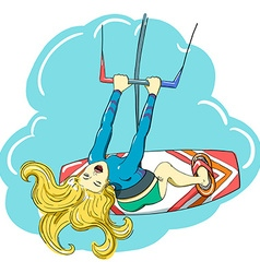 kitesurfing happy jumping girl vector image