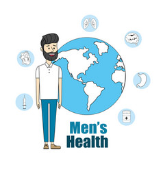 Man with global planet to mens health vector