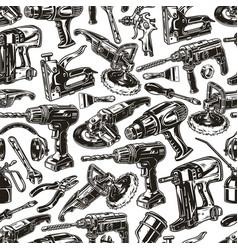 Manual work tools seamless pattern vector