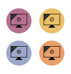Monitor simple flat icon in color circle vector