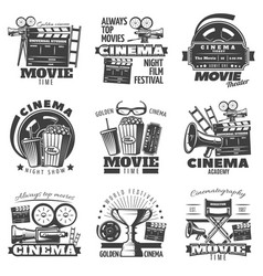 monochrome cinema emblems vector image