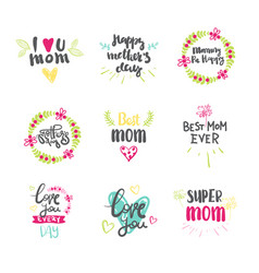 mothers day set beautiful hand drawn lettering vector image