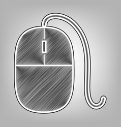 Mouse sign pencil sketch vector