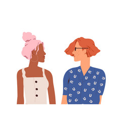 Multiracial lesbian love couple two enamored vector