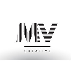 mv m v black and white lines letter logo design vector image