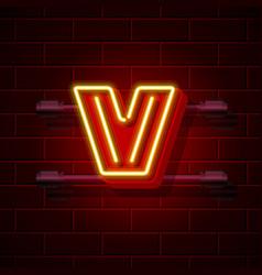 Neon city font letter v signboard vector