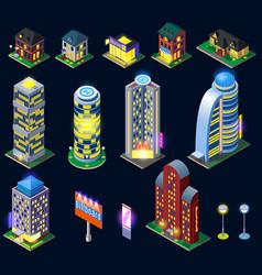 Night city isometric icons vector