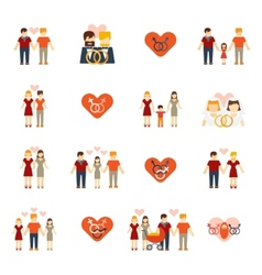 Non-traditional family icons set flat vector