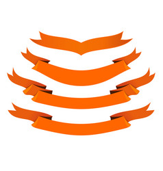 Orange ribbons icons set yellow banner collection vector