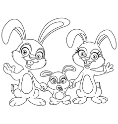 Outlined bunnies family vector