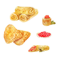 Pancakes with red caviar watercolor vector