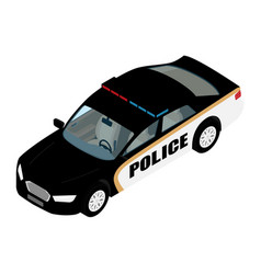 police car isometric view isolated on blue vector image
