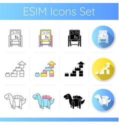Preschoolers toys icons set vector
