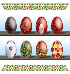 Pysanky - traditional eastern europe decorated vector