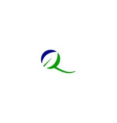 q letter leaf logo vector image
