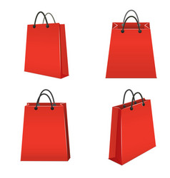 realistic template blank red paper bag set vector image