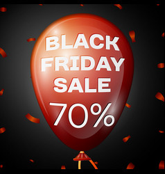 red balloon with text black friday sale seventy vector image
