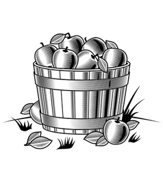 Retro bushel apples black and white vector