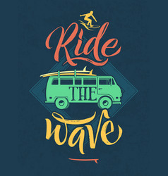 Retro poster surfer on waves in hawaii vector