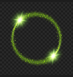 Round green glow light effect stars bursts with vector