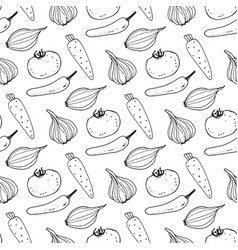 seamless pattern with the image of vegetables vector image vector image