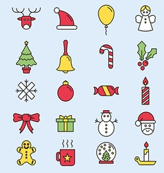 Set flat outlined Christmas icons vector