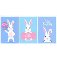 Set funny white easter bunnies white rabbit vector