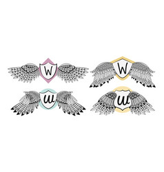 set of wings emblem with badge vector image