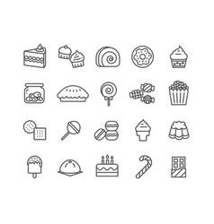 simple set dessert thin line icons vector image