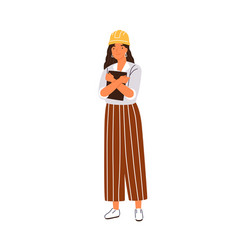 Smiling woman building engineer or architect vector