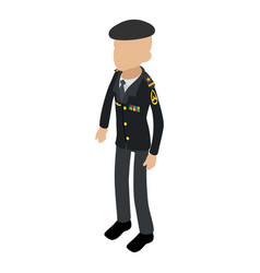 Soldier veteran icon isometric 3d style vector
